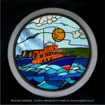 Brixham RNLI Lifeboat round stained glass porthole round window