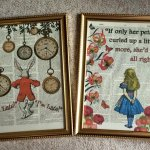 Alice in Wonderland Prints on C18th Dictionary Pages