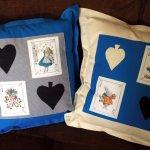Cushion with Vintage Alice in Wonderland Illustration