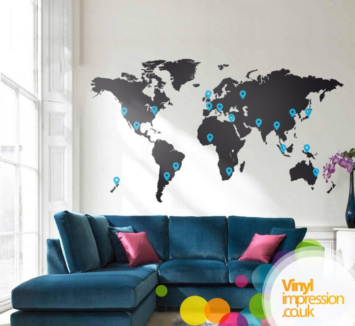 Creatives across sussex media images vinylimpression images free uk delivery this detailed world map wall sticker gumiabroncs Images
