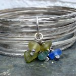 Recycled silver bangles with sea glass charms