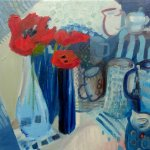 Red Tulips, blue jugs