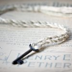 Silk rope necklace with vintage key